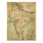 Mapa antiguo de la India en el siglo XIX Tarjeta Postal