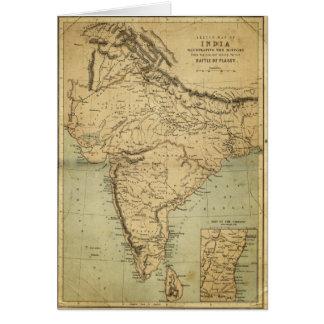 Mapa antiguo de la India en el siglo XIX Tarjeton