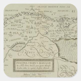 Mapa antiguo de la Tierra Santa Pegatina Cuadrada