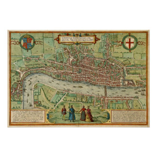 Mapa antiguo de Londres por Braun y Hogenberg Póster