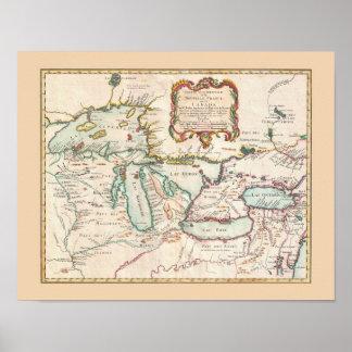 Mapa antiguo de los Great Lakes Póster