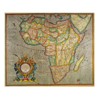 Mapa antiguo de Mercator del Viejo Mundo de África Poster