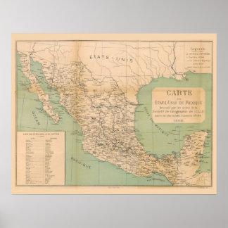 Mapa antiguo de México Etats Unis du Mexique Póster