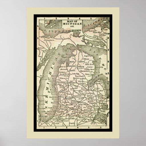 Mapa antiguo de Michigan Posters