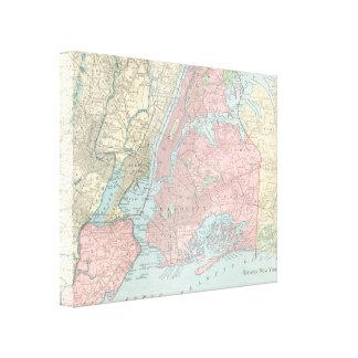 Mapa antiguo de New York City Impresiones De Lienzo