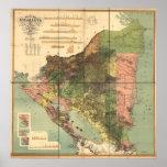 Mapa antiguo de Nicaragua 1898 Impresiones