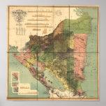Mapa antiguo de Nicaragua 1898 Póster