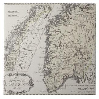 Mapa antiguo de Noruega Azulejo