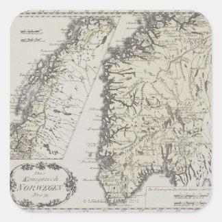 Mapa antiguo de Noruega Pegatina Cuadrada