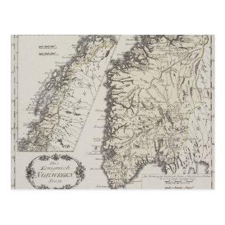 Mapa antiguo de Noruega Postal