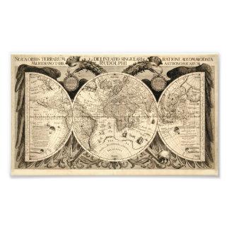Mapa antiguo de Phillip Eckebrecht 1630 del mundo Arte Fotográfico