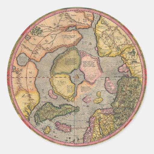 Mapa antiguo de Polo Norte Etiquetas Redondas