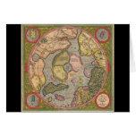 Mapa antiguo de Polo Norte Felicitacion
