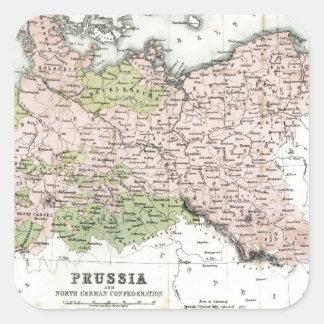 Mapa antiguo de Prusia Pegatina Cuadrada