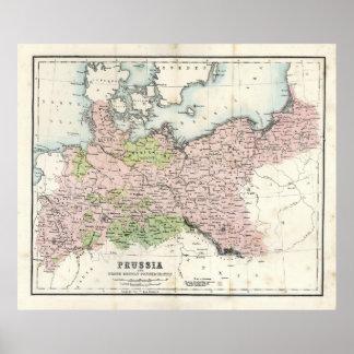Mapa antiguo de Prusia Póster
