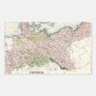 Mapa antiguo de Prusia Rectangular Pegatina