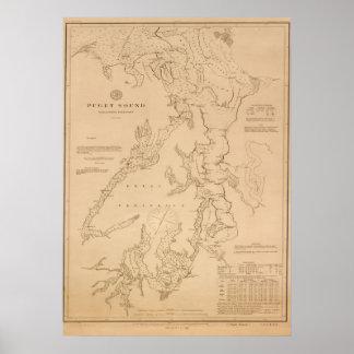 Mapa antiguo de Puget Sound Póster