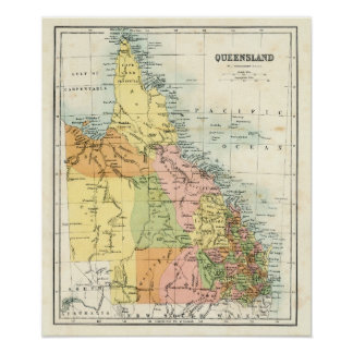 Mapa antiguo de Queensland Australia Póster