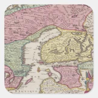 Mapa antiguo de Suecia 2 Calcomanía Cuadradase
