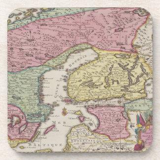 Mapa antiguo de Suecia 2 Posavasos De Bebidas
