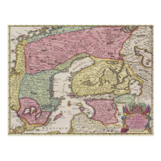 Mapa antiguo de Suecia 2 Postal