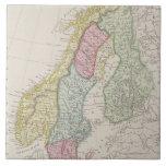 Mapa antiguo de Suecia Azulejo Cuadrado Grande
