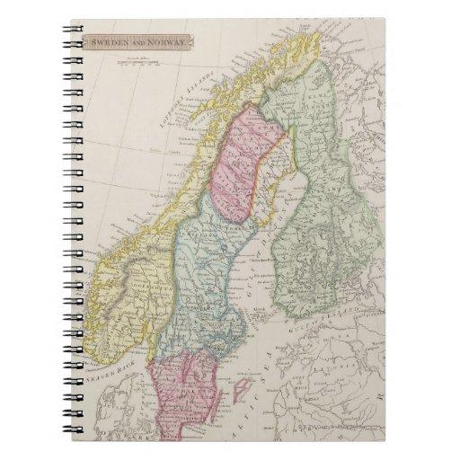Mapa antiguo de Suecia Libros De Apuntes Con Espiral