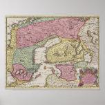 Mapa antiguo de Suecia Póster
