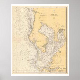 Mapa antiguo de Tampa Bay la Florida Póster