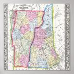 Mapa antiguo de Vermont y de New Hampshire C. 1862 Poster