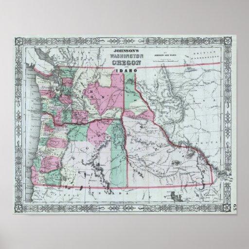Mapa antiguo de Washington, Oregon, Idaho Póster