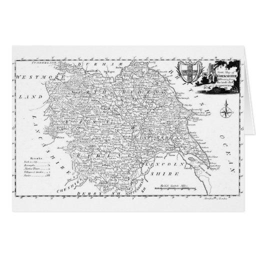 Mapa antiguo de Yorkshire 1786 Tarjeta De Felicitación