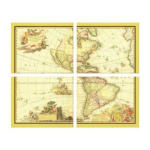 Mapa antiguo del ~ 1700's del hemisferio occidenta lona estirada galerías