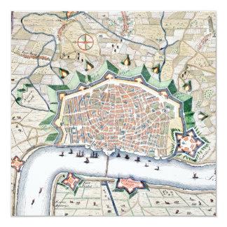 """Mapa antiguo del acontecimiento belga flamenco de invitación 5.25"""" x 5.25"""""""