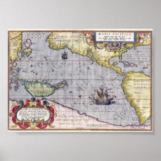 Mapa antiguo del año 1589 del Océano Pacífico Póster