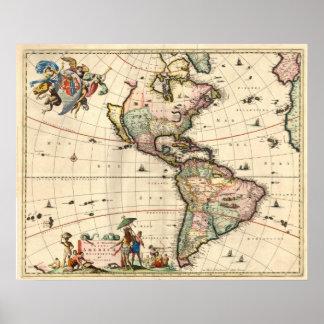 Mapa antiguo del año 1670 de Américas Póster