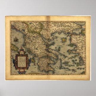 Mapa antiguo del ATLAS 1570 A D de Grecia ORTELIU Impresiones