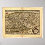 Mapa antiguo del ATLAS 1570 A.D. de Hungría ORTELI Poster