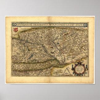 Mapa antiguo del ATLAS 1570 A.D. de Hungría Póster
