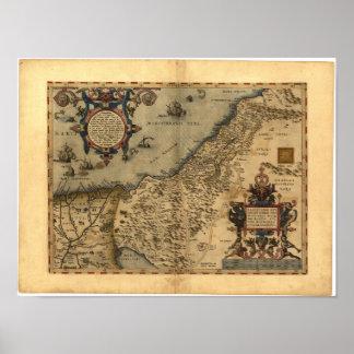 Mapa antiguo del ATLAS 1570 A.D. de Palestina Póster