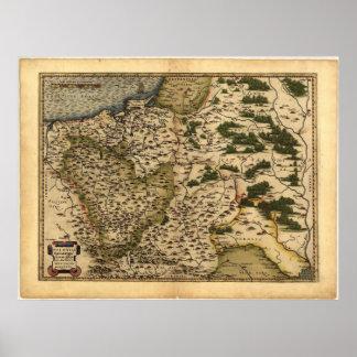 Mapa antiguo del ATLAS 1570 A.D. de Polonia ORTELI Impresiones