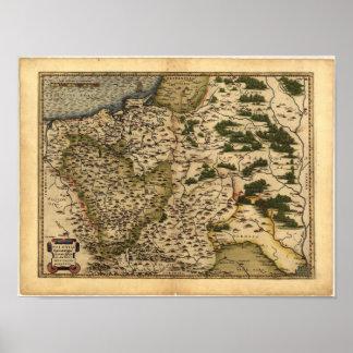 Mapa antiguo del ATLAS 1570 A.D. de Polonia Póster