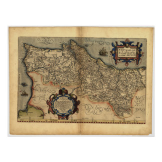 Mapa antiguo del ATLAS 1570 A.D. de Portugal ORTEL Poster