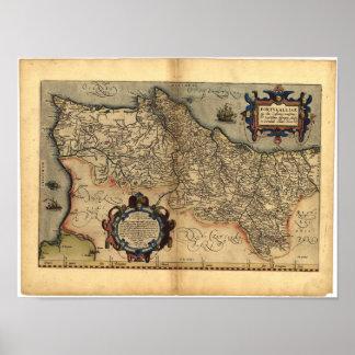 Mapa antiguo del ATLAS 1570 A.D. de Portugal Póster
