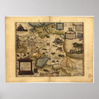 Mapa antiguo del ATLAS 1570 A.D. de Rusia ORTELIUS Poster