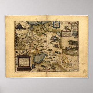Mapa antiguo del ATLAS 1570 A.D. de Rusia ORTELIUS Póster