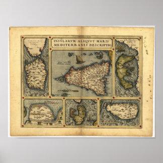Mapa antiguo del ATLAS 1570 A.D. de Sicilia Póster