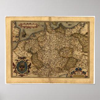 Mapa antiguo del atlas de Alemania Ortelius Póster