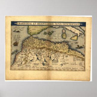 Mapa antiguo del ATLAS de la África del Norte ORTE Poster