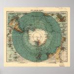 Mapa antiguo del atlas de la Antártida de 1912 Posters